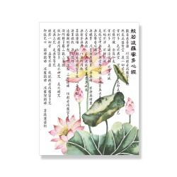 24mama掛畫 單聯式 植物花卉 荷花 荷葉 花苞 東方風格 藝術繪畫 開花 無框畫 30x40cm-般若波羅密多心經