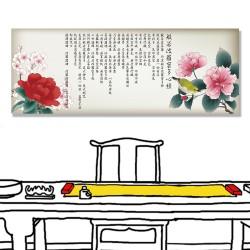 24mama掛畫 單聯式 日本 中國 花卉 動物 鳥 無框畫 80x30cm-白眼玫瑰心經