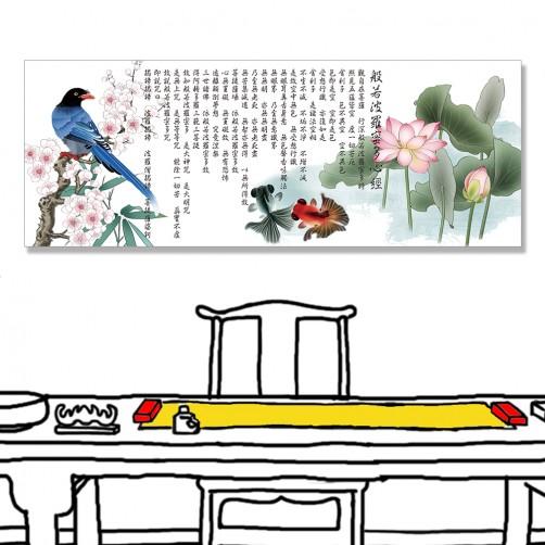 24mama掛畫 單聯式 動物 魚 鳥 花卉 梅花 荷花 無框畫 80x30cm-金魚與藍喜心經