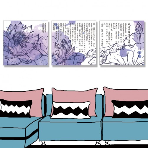 24mama掛畫 三聯式 美麗 花卉 葉子 無框畫 30x30cm-美麗蓮花心經02