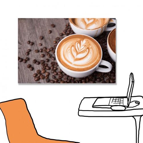 24mama掛畫 單聯式 拿鐵 泡沫 咖啡 無框畫 60x40cm-卡布奇諾