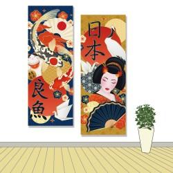24mama掛畫  二聯式 藝妓 鯉魚 鶴 日本 招財貓 扇子 紙鶴 梅花 無框畫 30x80cm-日本文化