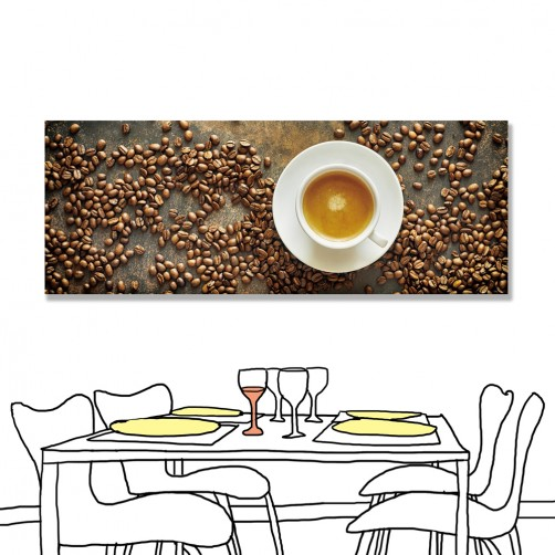 24mama 單聯式 咖啡 拿鐵 橫幅 咖啡豆 無框畫 80x30cm-拿鐵