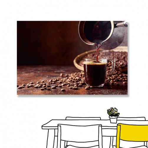 24mama掛畫 單聯式 咖啡 咖啡豆 無框畫 時鐘掛畫 60x40cm-黑咖啡
