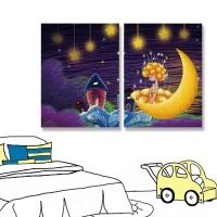 24mama掛畫 二聯式 兒童房 夜晚 月亮 星星 插圖 無框畫 30x40cm-夜童話