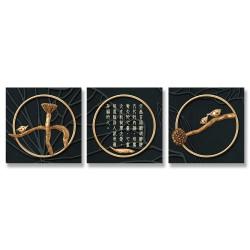 24mama掛畫 三聯式 戒指 抽象 樹枝 荷葉 無框畫 30x30cm-黃金飾品靜思語