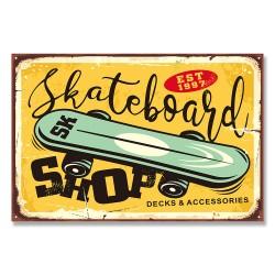 24mama掛畫 單聯式 漫畫風格 運動 活躍 設計 年輕青春 娛樂 街頭 時尚 無框畫 60x40cm-復古滑板