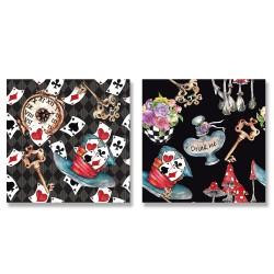24mama掛畫 二聯式 懷錶 撲克牌 帽子 鑰匙 黑桃 愛心 菱形 梅花 花朵 蘑菇 藥水 無框畫 30x30cm-夢遊仙境10