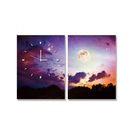 24mama掛畫 二聯式 月亮 星星 森林 夜 宇宙 無框畫 時鐘掛畫 30x40cm-滿月天空