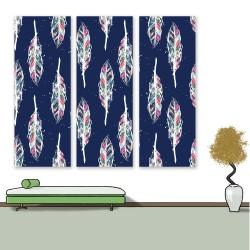 24mama 三聯式 繪畫插圖 華麗裝飾 美麗優雅 蓬鬆 無框畫 30x80cm-藝術夢想羽毛