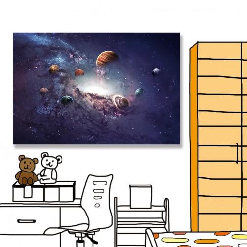 24mama 單聯式 水星 金星 地球 火星 木星 土星 天王星 海王星 無框畫 60x40cm-太陽系行星