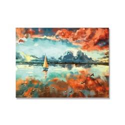 24mama掛畫 單聯式 日落時分 藝術繪畫 雲 天空 倒影 無框畫 40x30cm-海洋中船
