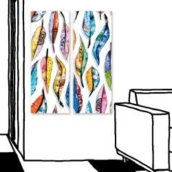 24mama掛畫 二聯式 藝術繪畫 美麗 裝飾 圖案 創造力 豐富 華麗 無框畫 30x80cm-多彩羽毛