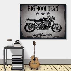 24mama掛畫 單聯式 插圖 重機 復古 黑色 無框畫 40x30cm-經典摩托車
