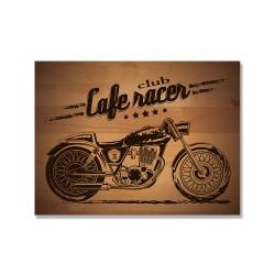 24mama掛畫 單聯式 插圖 經典 摩托車 復古 木紋 無框畫 40x30cm-古董重機