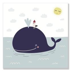 24mama掛畫 單聯式 動物 海 海鷗 太陽 雲 斯堪的納維亞風格 兒童 北歐 無框畫 30x30cm-可愛鯨魚