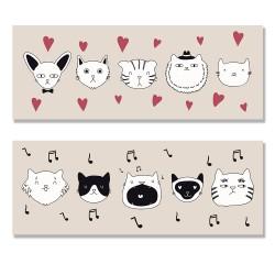24mama掛畫 二聯式 可愛 動物 塗鴉 愛貓人士 睡覺 面膜 睫毛 帽 圍巾 泳裝 無框畫 80x30cm-可愛貓咪塗鴉