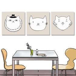 24mama掛畫 單聯式 可愛 動物 塗鴉 愛貓人士 睡覺 面膜 睫毛 帽 圍巾 泳裝 無框畫 30x30cm-可愛貓咪塗鴉