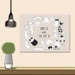 24mama掛畫 單聯式 可愛 動物 塗鴉 愛貓人士 睡覺 面膜 睫毛 帽 圍巾 泳裝 無框畫 時鐘掛畫 40x30cm-家就是貓所在的地方