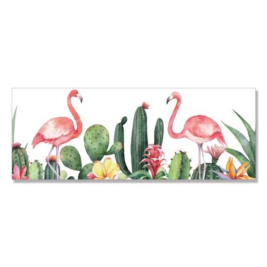 24mama掛畫 單聯式 仙人掌 紅鶴 火烈鳥 動物 肉質植物 藝術插畫 無框畫 80x30cm-熱帶花卉與鳥