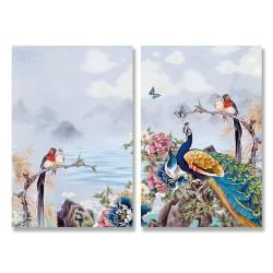24mama掛畫 二聯式 天空 丘陵 雲朵 湖 花朵 樹枝 動物 昆蟲 鳥 蝴蝶 無框畫 時鐘掛畫 40x60cm-孔雀花卉