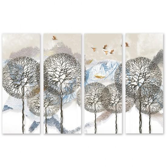 24mama掛畫 四聯式 抽象 雪山 樹木 飛翔 動物 鳥 無框畫 30x80cm-蒲公英樹枝