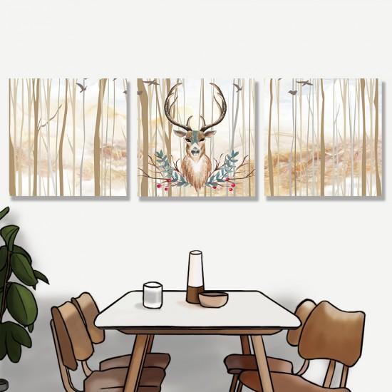 24mama掛畫 三聯式 鳥 動物 森林樹木 藝術插圖 無框畫 30x30cm-鹿頭