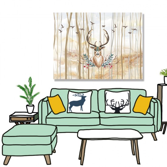 24mama掛畫 單聯式 鳥 動物 森林樹木 藝術插圖 無框畫 40x30cm-鹿頭