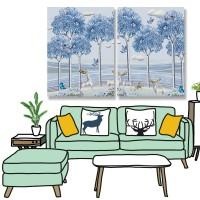 24mama掛畫 二聯式 風景 樹木 雲 動物 角 鳥 蝴蝶 鹿 無框畫 30x40cm-藍色森林