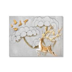 24mama掛畫 單聯式 抽象 花卉 鳥 動物 金色 華麗 樹木 無框畫 40x30cm-盛開花的鹿