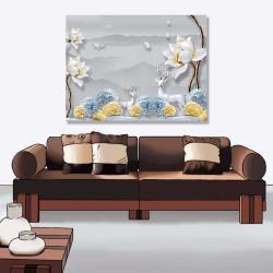 24mama掛畫 單聯式 時鐘掛畫 山丘 動物 鳥 抽象 花卉 樹 無框畫 40x30cm-大白花鹿