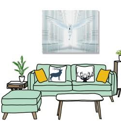 24mama掛畫 單聯式 光 浮雕柱 翅膀 動物 無框畫 40x30cm-白色獨角獸