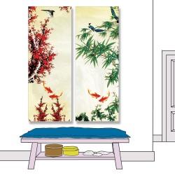 24mama掛畫 二聯式 竹 櫻花 動物 魚 無框畫 30x80cm-樹林金魚01