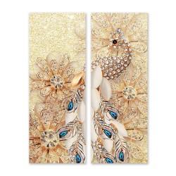 24mama掛畫 二聯式 水晶 花卉 閃閃發光 明亮 動物 美麗時尚 藝術 豪華 無框畫 30x80cm-金孔雀