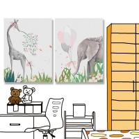 24mama掛畫 二聯式 草 動物 球 絲帶 無框畫 30x40cm-大象與長頸鹿