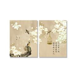 24mama掛畫 二聯式 動物 藝術繪畫 開花 花卉 鳥籠 樹枝 靜思語 無框畫 30x40cm-玉蘭花與鳥