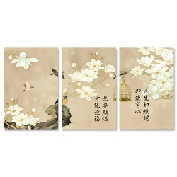 24mama掛畫 三聯式 動物 藝術繪畫 開花 花卉 鳥籠 樹枝 靜思語 無框畫 40x60cm-玉蘭花與鳥