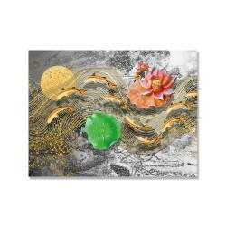 24mama掛畫 單聯式 動物 金魚 花卉 睡蓮 藝術 金色 無框畫 40x30cm-抽象波浪