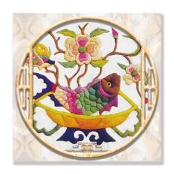 24mama掛畫 單聯式 動物 蘭花 花卉 豐富多彩 無框畫 30x30cm-刺繡魚