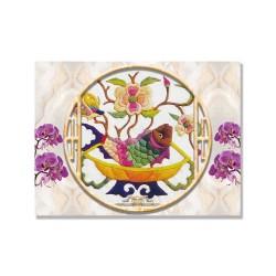 24mama掛畫 單聯式 動物 蘭花 花卉 豐富多彩 無框畫 40x30cm-刺繡魚