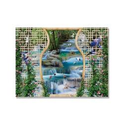 24mama掛畫 單聯式 動物 鳥 金魚 森林 植物 花卉 無框畫 40x30cm-美麗的瀑布