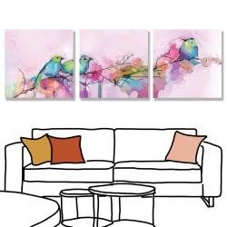 24mama掛畫 三聯式 抽象 五顏六色 動物 春天 藝術繪畫 花卉 無框畫 30x30cm-色彩鳥