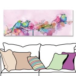 24mama掛畫 單聯式 抽象 五顏六色 動物 春天 藝術繪畫 花卉 無框畫 80x30cm-色彩鳥