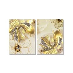 24mama掛畫 二聯式 插圖 抽象 花卉 金色 動物 魚 無框畫 30x40cm-黑花金魚