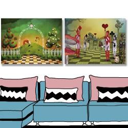 24mama掛畫 二聯式 插圖 動物 鳥 樹木 玫瑰 花朵 仙境 兵士 黑桃 愛心 菱形 梅花 蘑菇 格子 無框畫 40x30cm-火烈鳥與城堡