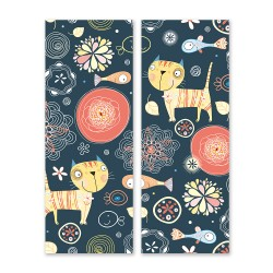 24mama掛畫 二聯式 植物 花卉 動物 插圖 圖案 豐富多彩 創造力 無框畫 30x80cm-貓咪和魚