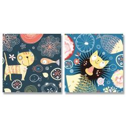 24mama掛畫 二聯式 植物 花卉 動物 插圖 圖案 豐富多彩 創造力 幻想 無框畫 30x30cm-貓咪和魚