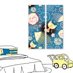 24mama掛畫 二聯式 藝術繪畫插圖 花卉 魚 動物 幻想 創造力 無框畫 30x80cm-愛玩的貓