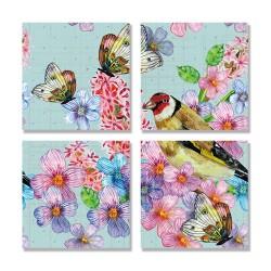 24mama掛畫 多聯式 藝術繪畫 花卉 動物昆蟲 夏天 豐富多彩 無框畫 30x30cm-可愛的小鳥