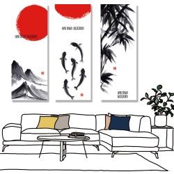 24mama 三聯式 水墨 魚 竹林 無框畫 30x80cm-水墨之意